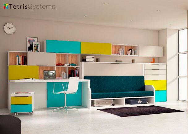 <p>Dormitorio juvenil con cama abatible VERSATILE con sofá integrado.</p>