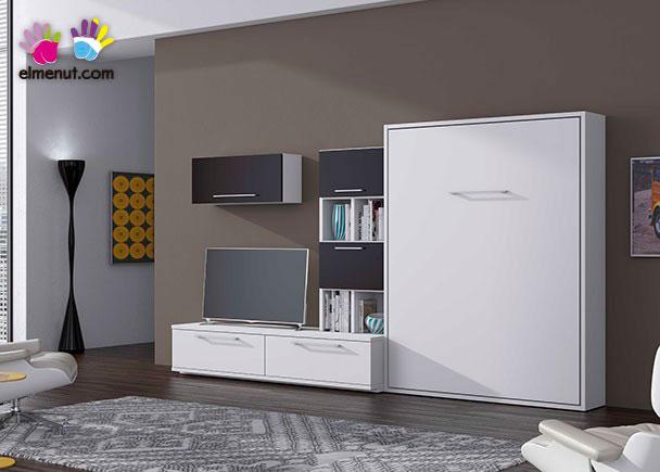 <p>Composición mural para salón, con cama abatible vertical de 150 x 190 con composición mural tv con librería y módulos colgantes.</p>