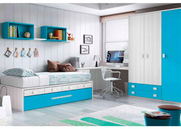 Dormitorio Infantil con compacto nido con cajones. El ambiente se completa con un escritorio angular y un armario de 3 puertas con cajones vistos.