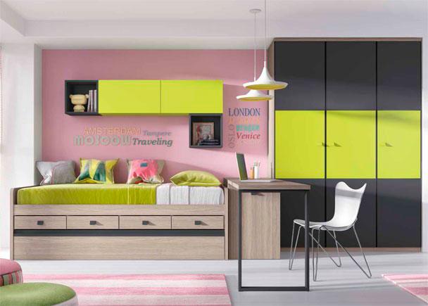 <p>Juvenil con cama compacta con cama nido inferior y cajones. Cuenta con un amplio armario de 3 puertas con paneles japoneses y un escritorio de 206 cm</p>