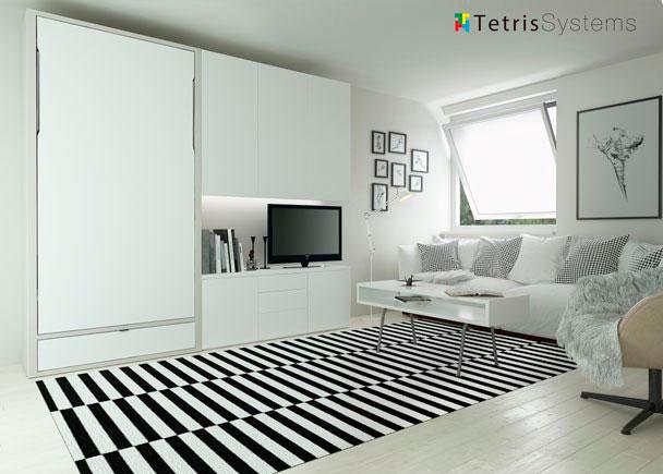 <p>Sal&oacute;n de est&iacute;lo contempor&aacute;neo, equipado con una composici&oacute;n mural que integra una cama abatible vertical para colch&oacute;n de 90 x 190 de, con otros elementos complementarios que vamos a ir describiendo.</p>