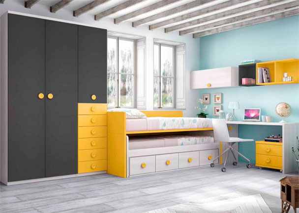 <p>Dormitorio Infantil con compacto con deslizante de frente abierto y cajones. Cuenta con un arcón extraíble, escritorio y armario de 3 puertas con cajones.</p>