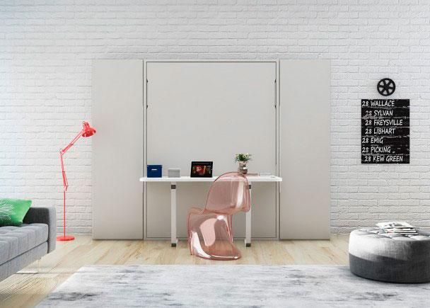 <p>Salón con mesa abatible vertical de 135 x 190 con mesa plegable incorporada.</p>