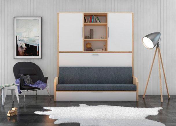 Dos camas y un sofá todo en uno Con este sistema abatible podrás amueblar cualquier rincón de tu casa con un elemento, práctico, fu
