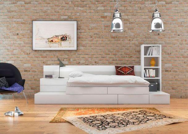 Habitación juvenil con cama y cajones modulares