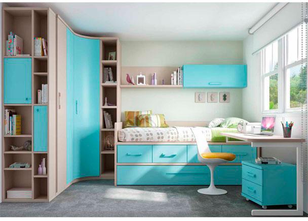 Habitación infantil con compacto de 4 cajones + nido inferior. El ambiente se completa con un armario rincón con términal, escritorio y com