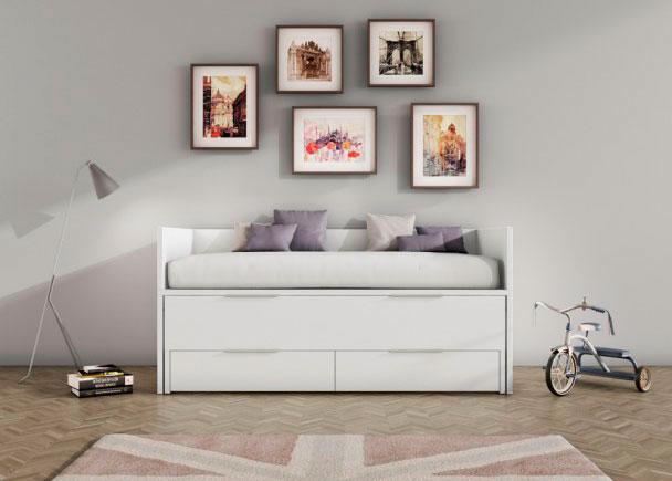 <p>Cama deslizante nido de arrastre para dormitorio juvenil en acabado blanco con tiradores pesta&ntilde;a. Con cabezal, piecero y trasera.</p>