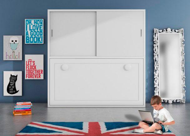 <p>Dormitorio infantil con cama abatible horizontal y armario con 2 puertas correderas</p>