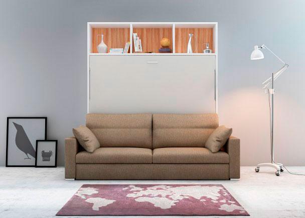 <p>Cama abatible horizontal de matrimonio con librería colchón 150 x 190 cm. con sofá DIVO.</p>