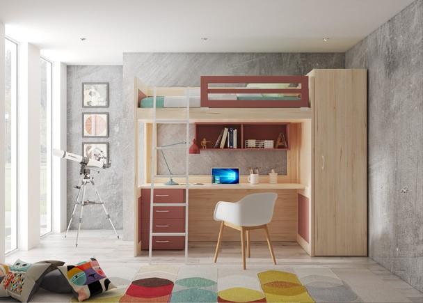 <p>Este ambiente corresonde a un dormitorio juvenil, equipado con una litera XL, debido a que es m&aacute;s alta de lo habitual, algo que permite habilitar la zona inferior para otros usos. En este caso el espacio se ha usado para ubicar la zona de estudio. El ambiente se completa con un armario de la misma altura que la cama.<br /><br /></p>