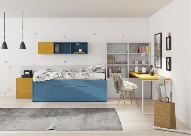 Habitación infantil con compacto alto de 2 camas y dos cajones. Los compactos responden a un concepto de cama que supone la solución ideal para sa