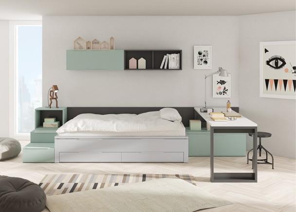 """<h2>Juvenil con compacto</h2> <p style=""""text-align: justify;"""">Los sistemas <strong>compactos</strong> te permiten disponer de <strong>2 camas</strong> y espacio de <strong>almacenaje</strong> en el mismo espacio que ocupar&iacute;a una cama tradicional. De este modo, en el d&iacute;a a d&iacute;a tienes una cama y unos amplios cajones para almacenaje y cuando lo necesites dispones de una <strong>cama deslizante</strong>, con las mismas dimensiones que la cama superior y que se abre simplemente tirando como si de un caj&oacute;n m&aacute;s se tratara.&nbsp;&nbsp;</p>"""