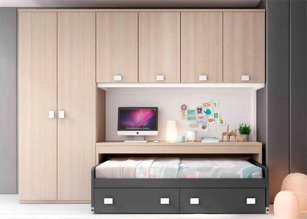 <p>Habitación Juvenil con compacto con dos cajones, mesa extraíble con ruedas, armario de dos puertas y altillo.</p>