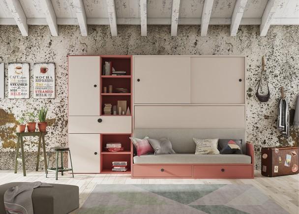 Dormitorio juvenil equipado con una cama abatible horizontal con sofá integrado, y base configurable. El mueble cuenta además con un armario