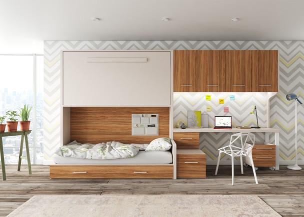 <p>Dormitorio infantil equipado con una litera alta exenta y con cama nido inferior independiente. Este nido puede ser con somier de arrastre o de cajones con gran capacidad de almacenamiento, ya que sus gu&iacute;as son de extracci&oacute;n total. En las camas de 45 cm de fondo, podr&aacute;s tambi&eacute;n (de manera opcional), incorporar una tira de iluminaci&oacute;n LED en uno de los estantes de las camas, el cual queda empotrado e insertado mediante recalada. El ambiente cuenta adem&aacute;s con una zona de estudio y un altillo de 4 puertas.</p>
