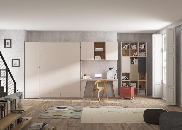 <p>Estudio con una cama abatible vertical de matrimonio con cajones inferiores, armario y zona de estudio compuesta por escritorio, altillo y estanter&iacute;as.</p>