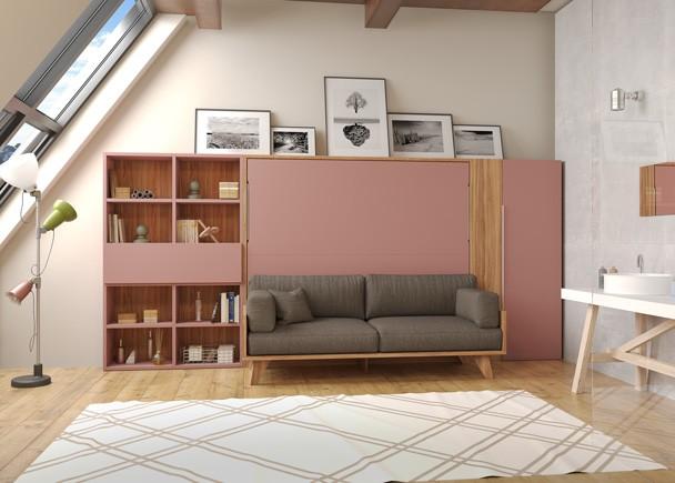<p>Sal&oacute;n equipado con una cama abatible de la nueva serie NORDIK, presentada por Tetris Systems. Las camas abatibles de la serie NORDIK est&aacute;n disponibles para colchones de 135 y de 150 cm,. Al igual que en el resto de abatibles de Testris Systems, se fabrican con dos fondos de estructura; 35 y 45 cm de fondo, y como siempre, las camas de 45 cm de fondo vienen de serie con estantes interiores.</p>