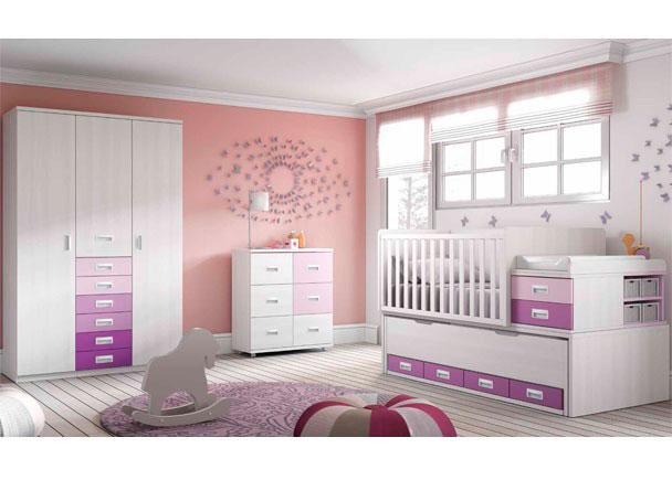 Habitación de bebé con cuna convertible y armario de 3 puertas con sinfonier y modulo con ruedas de 6 contenedores