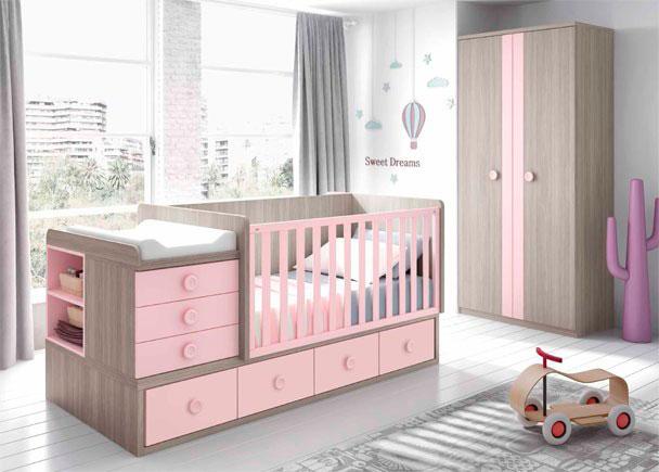 <p>Dormitorio de Beb&eacute; equipado con cuna convertible para colch&oacute;n de 140x70F. Medida total montada como cuna 203x100x105 cm.</p>