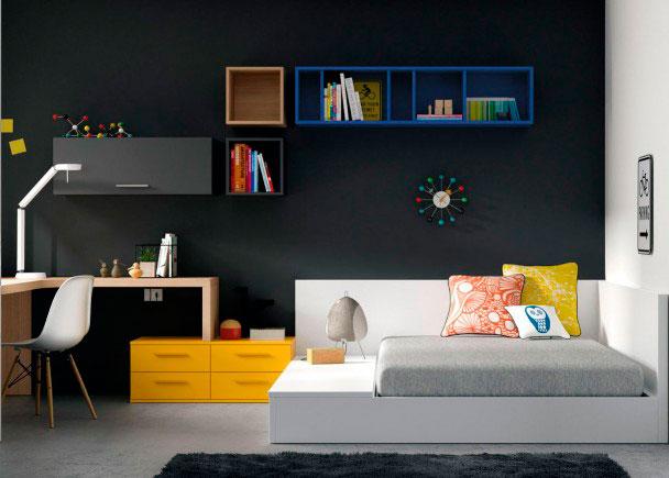 <p>Original soluci&oacute;n de escritorio esquinero que descansa sobre una mesita de noche doble. Porque en los dormitorios, cada metro es importante.</p>