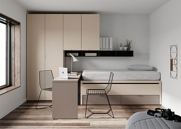 <p>Dormitorio juvenil con compacto de cama fija, deslizante y base de 2 cajones nido. La novedad de este modelo es que tanto la cama superior como la deslizante son de 90 x 190.</p>