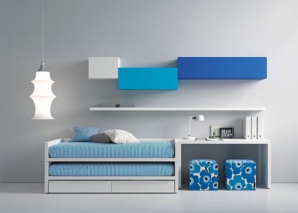 <p>Dormitorio juvenil equipado con un compacto con cama fija. deslizante y base de 2 cajones nido. La novedad de este modelo es que tanto la cama superior como la deslizante son de 90 x 190.</p>