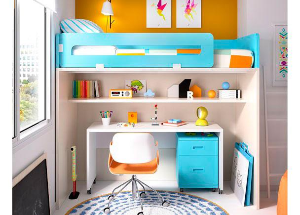 HabitaciónInfantil con Litera alta con hueco libre inferior con Estante + Escritorio con Ruedas.Los elementos que integran la presente composici&oa