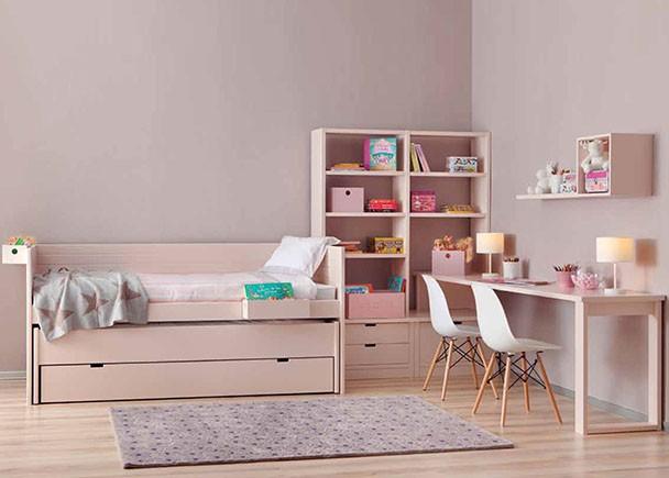 <p>Dormitorio juvenil modular de alta calidad con nido m&oacute;vil modelo COMETA, de l&iacute;nea colonial y rom&aacute;ntica.</p>