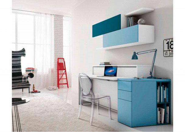 Mobiliario que integra una cama abatible horizontal en acabado Laminado Blanco Liso en la Estructura y Frontal, cama y puertas en Laminado Blanco Liso