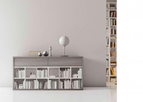 <p><span>Salón con módulo de 186,6 de ancho x 82,8 de altura x 52,5 de fondo.<br />La imagen de la fotografía, se ha realizado en los siguientes acabados:<br />Estructura en acabado Larice Grigio.<br />Frontal mueble con estampación de librería en escala de grigio.</span></p>