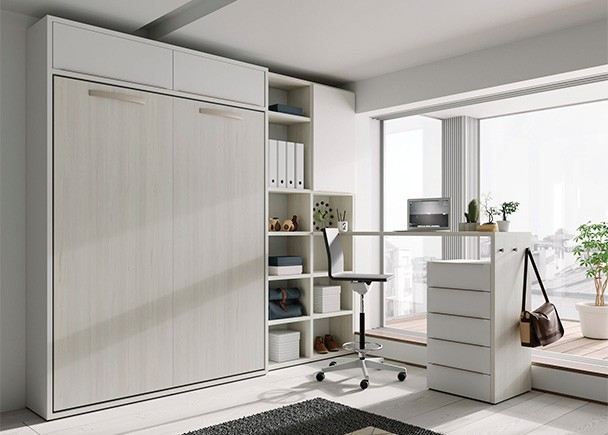 <p>Dormitorio juvenil equipado con una cama abatible vertical con altillo, para colchón de 150 x 190 y zona de estudio.</p>