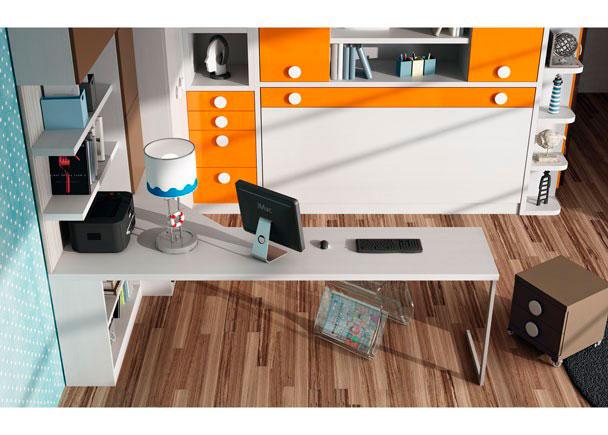 Dormitorio juvenil con armario de dos puertas y zona estudio.
