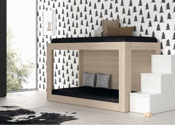 <p>Dormitorio infantil con Litera minimalista en la que diseño y funcionalidad van de la mano.</p>