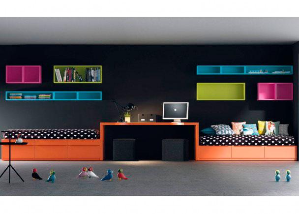 <p>Dormitorio juvenil con dos camas.<br />Los elementos que aparencen en la imagen son los siguientes:&nbsp;&nbsp;<br />Modulo CUBO Bajo de 1 caj&oacute;n para componer Camas. Medidas: 66,7 x 30 h x 100 F&nbsp;<br />Modulo CUBO apilable de 1 caj&oacute;n para componer Camas. Medidas: 66,7 x 13 h x 100 F&nbsp;<br />Modulo base cama de 1 caj&oacute;n para componer Camas Cubo. Medidas: 66,7 x 30 h x 100 F&nbsp;<br />Estanteria Colgar Sin Puerta.<br />Medidas 100 x 36 x 30 F&nbsp;<br />Cubo de colgar di&aacute;fano (sin puerta).<br />Medidas: 36 x 36 h x 30 F&nbsp;<br />Cubo de Colgar Sin Puerta. Medidas 50 x 18 x 30 F&nbsp;<br />Cubo deColgar Sin Puerta. Medidas100 x 18 x 30 F&nbsp;<br />Encimera seg&uacute;n dibujo. Medidas 200 x 100 x 50 F&nbsp;<br />Pie mesa escritorio Especial con Angulo Metal. Medidas 72 x 100 x 5 cm de espesor.&nbsp;</p>