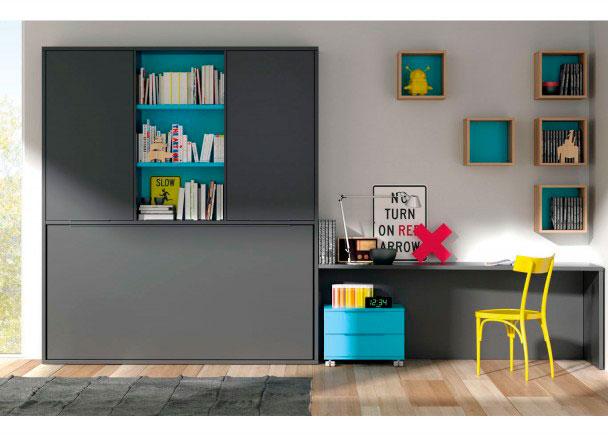 Habitación juvenil con cama abatible Horizontal + Armario con librería central.Los elementos que aparencen en la imagen son los siguientes:&