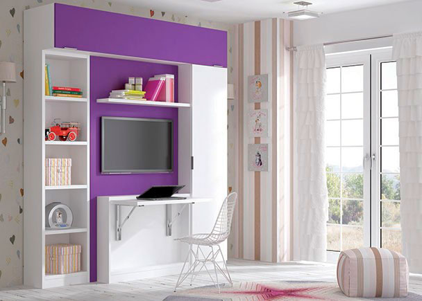 <p>Cama abatible vertical con puerta y escritorio, para colchon de 90 x 190. La estructura mide 107 cm de ancho y cuenta con un escritorio tambien abatible en el frente. El dormitorio cuenta además con una armario recto de 1 puerta y una libreria de ancho fuelle, (hasta 60 cm posibles)</p>