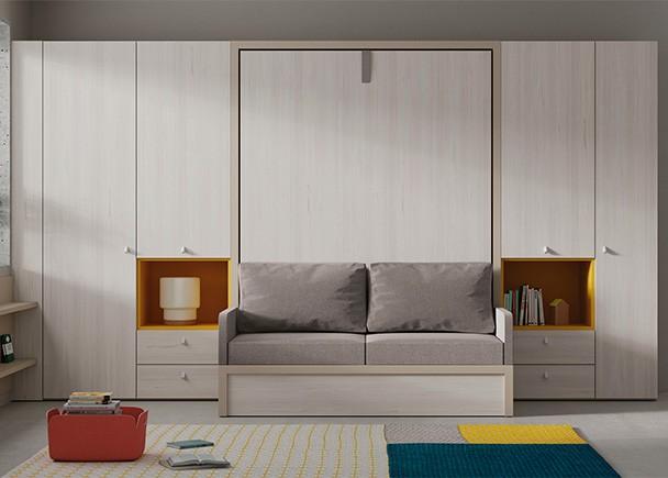 <p>Salita-Dormitorio equipada con una cama abatible vertical con sofá y armarios.</p>