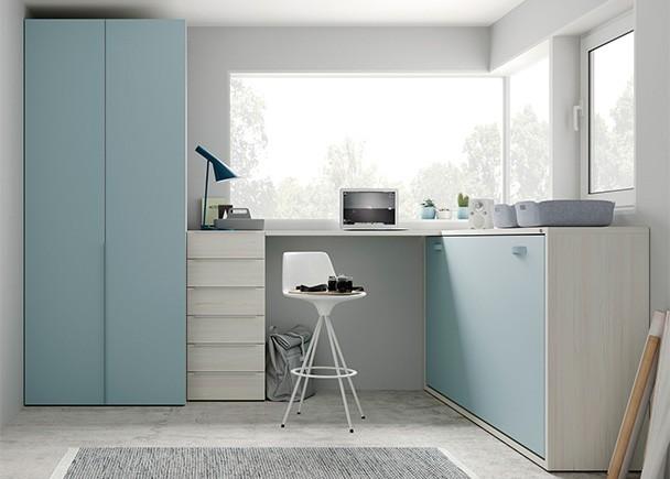 <p>Dormitorio juvenil con cama abatible horizontal para colch&oacute;n de 90 x 190. El ambiente se completa con una zona de estudio planteada con un escritorio alto y unn armario recto de 1 metro de ancho.</p>