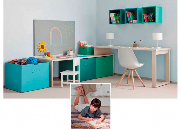 <p>Zona de estudio doble infantil-juvenil completamente modular y de alta calidad, integramente fabricada en madera de haya y acabada con lacas texturadas.</p>
