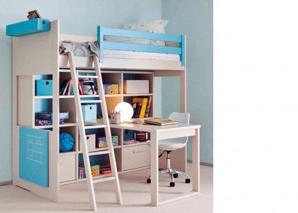 Dormitorio juvenil modular de alta calidad. Este mobiliario sigue una linea colonial y romántica. Está integramente fabricado en madera de haya co