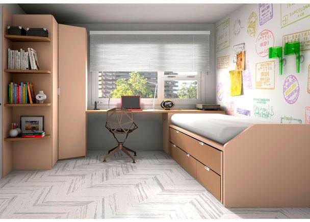 Dormitorio juvenil equipado con nuestro novedoso compacto F1 con base de 3 cajones.