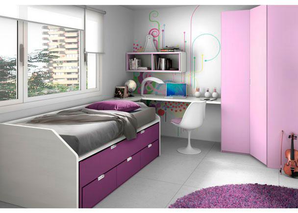 Dormitorio juvenil equipado con nuestro novedoso compacto F1 con base de 3 cajones en tonos morados.