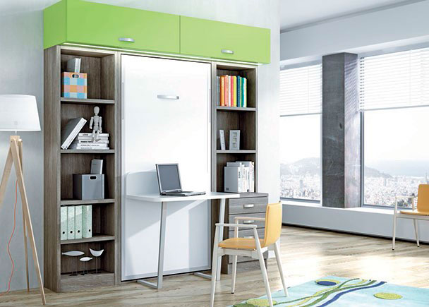 <p>Dormitorio juvenil con cama abatible vertical y escritorio pleglables, librerias y altillos con puerta elevable.</p>