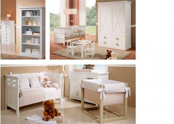 Habitación de bebé con cuna de barrote plano modelo Aspaspara colchón 70 x 140Incluye una cómoda de la misma serie, de 3