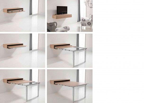 <p>Salón comedor con módulo consola que integra una mesa extensible, de 120 de ancho x 23 cm de altura x 52 de fondo.</p>