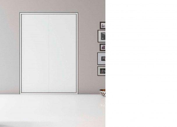 <p>Sal&oacute;n-Comedor con cama abatible vertical de matrimonio de 156,2 de ancho x 218,8 de altura x 40,5 de fondo.<br /><br />La imagen de la fotografia, se ha realizado en acabado todo laminado de color blanco.<br />&nbsp;</p>