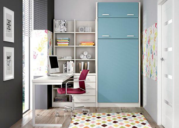 <p>Habitaci&oacute;n infantil con litera abatible vertical para colchones de 90 x 190 con amplia zona de estudio.</p>