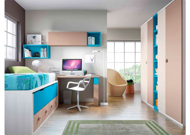 <p>Dormitorio Infantil con cama compacta de 4 cajones con deslizante. El ambiente se completa con 2 armarios con librería central y un escritorio de 206 cm</p>