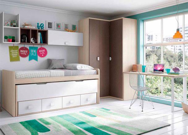 <p>Juvenil con compacto de 4 cajones y cama deslizante. El ambiente se completa con un escritorio de sobre recto, un armario rincón.</p>