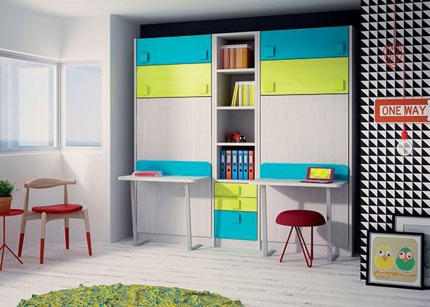 <p>Dormitorio infantil con dos literas abatibles para colchón de 90 x 190.</p>